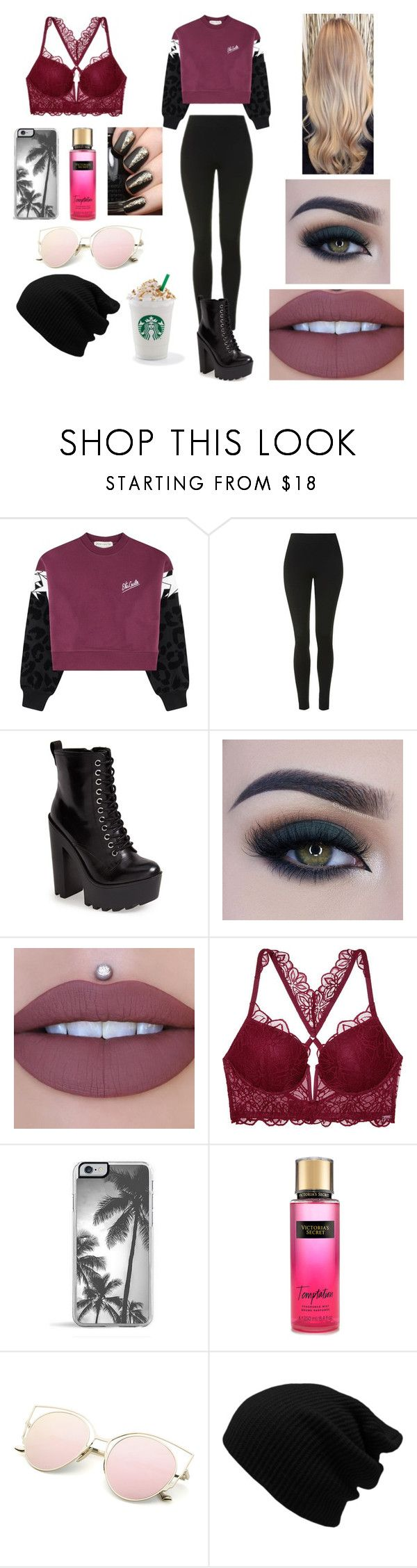 """""""Untitled #723"""" by tahoegirl ❤ liked on Polyvore featuring Être Cécile, Topshop, Steve Madden, Too Faced Cosmetics, Jeffree Star and Victoria's Secret"""