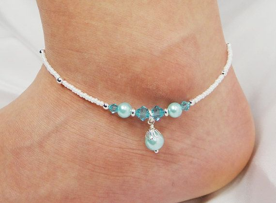 Anklet Ankle Bracelet Crystal Pearl Dangle by ABeadApartJewelry, $13.00