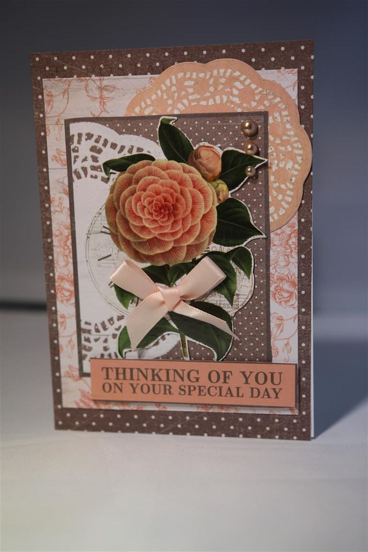 My second Kaisercraft Ooh La La cards, still using the papers from the 6″ pad for the background layers – they were the leftover pieces from the first card..and the inner layer is from …