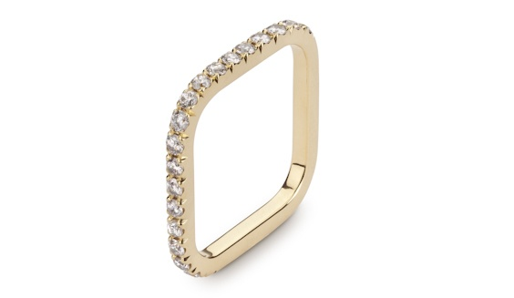 Handmade 18ct yellow gold full eternity diamond pave set square ring