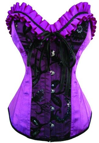Purple Black Burlesque Corset