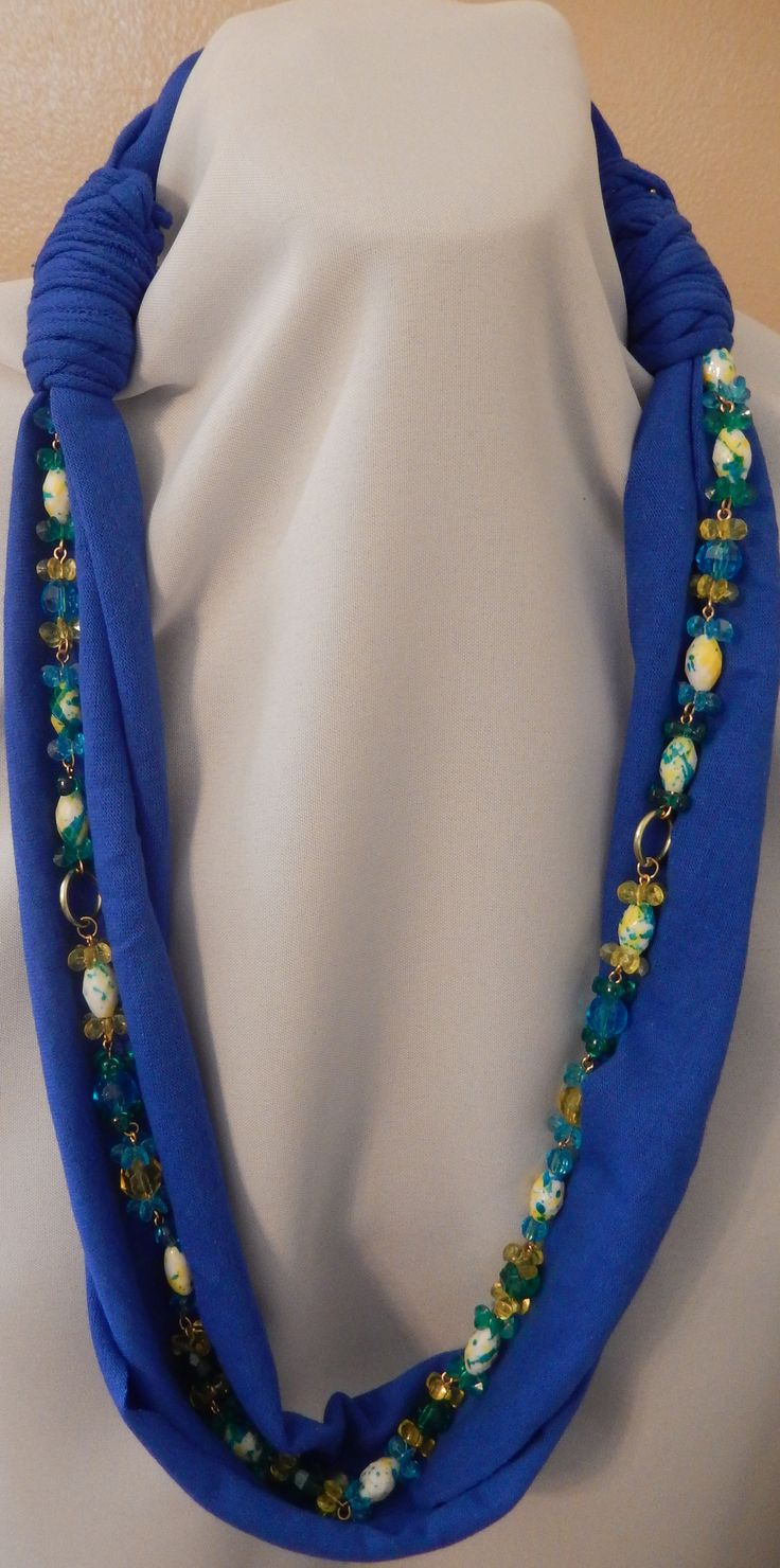 Blue T-shirt Scarf with Beaded necklace.