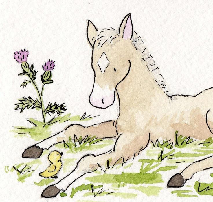Baby Horse Nursery Art Thistle  5X7 Archival by JasperAndRuby, $9.00