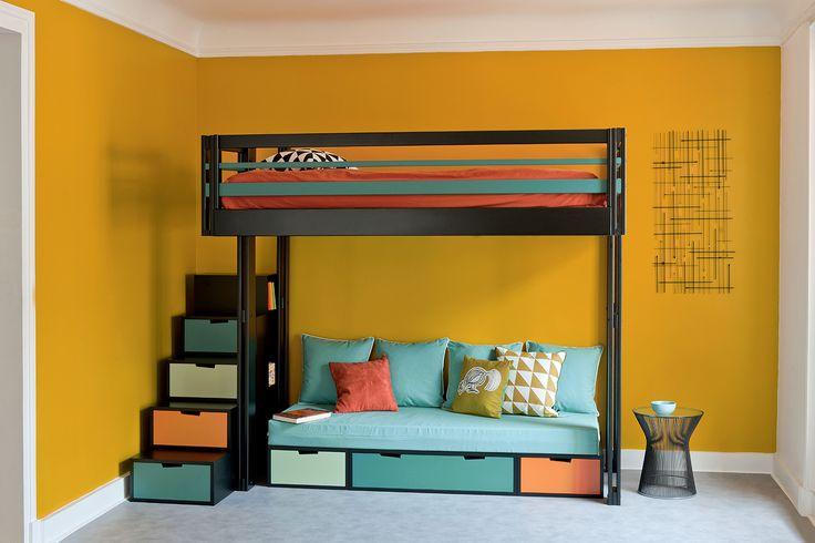 les 25 meilleures id es concernant lits rangement. Black Bedroom Furniture Sets. Home Design Ideas