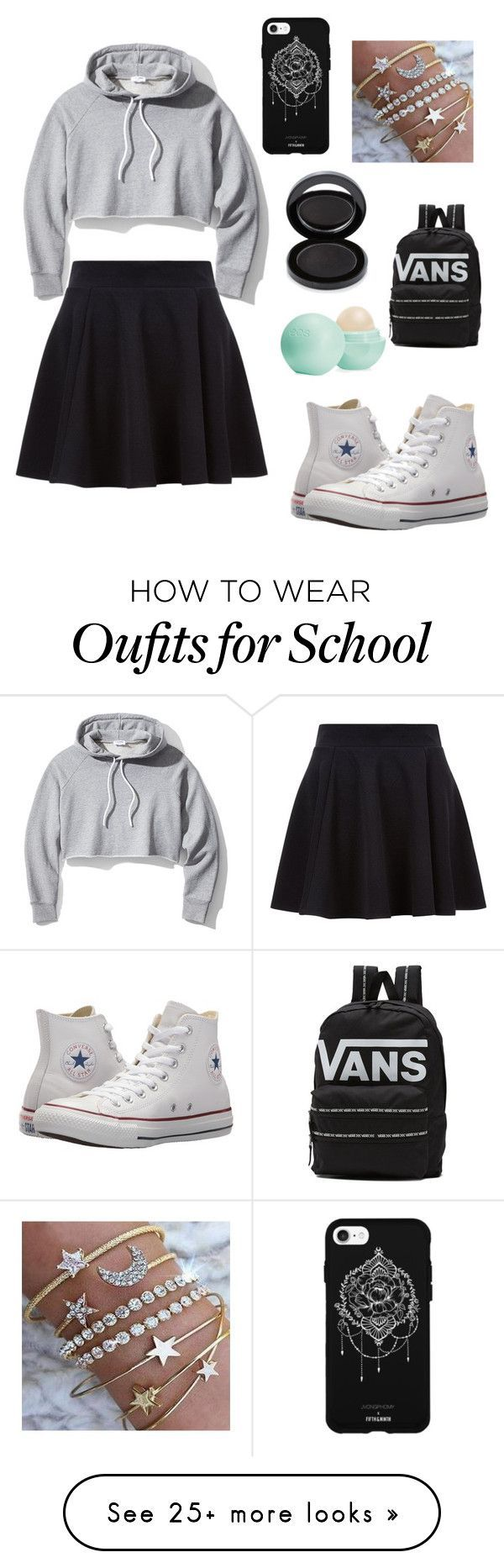 """Cute school outfit"" by alphamew on Polyvore featuring Frame, Converse, Vans, Eos, Fifth & Ninth and Lipstick Queen"