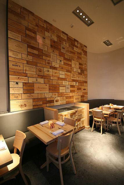 Sonoma Wine Garden: the wall of wine crates in the main dining room | Flickr - Photo Sharing!