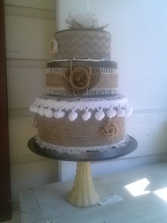 Fake Wedding Cake Burlap And Lace Rustic 3 Tiered Cookie