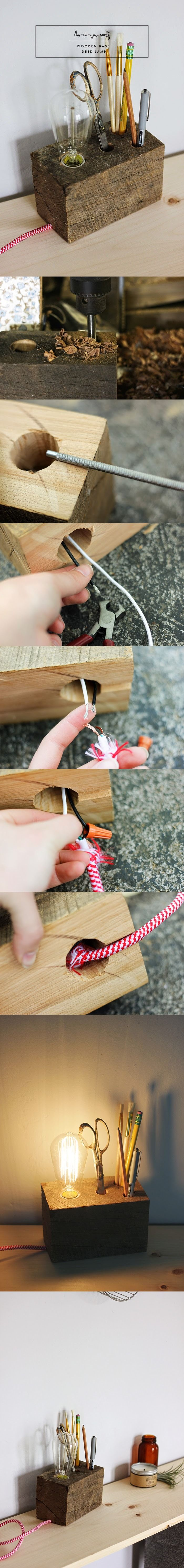 Creativo porta-lápices/ lámpara de madera para escritorio - Muy Ingenioso
