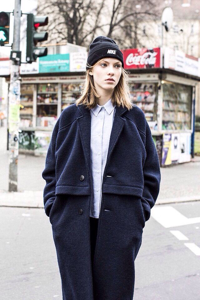 The ultimate tomboy, over sized jacket, beanie and buttoned up shirt.
