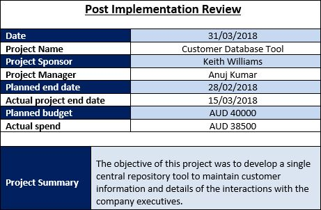 Post Implementation Review Template Project Management Templates Project Management