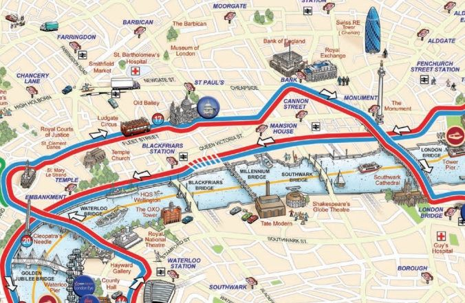 Sightseeing Map Of London.Map Of London Sightseeing Pdf Tour Bus Maps Mapping London 676 X 441