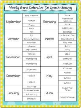 Here is a list of weekly themes by month to help you organize therapy…