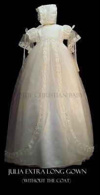 Julia Extra Long Christening Gown by Piccolo Bacio [pb_julia] - $319.99 : The Christian Baby - Christening Gowns, Baptism Suits for Boys Girls