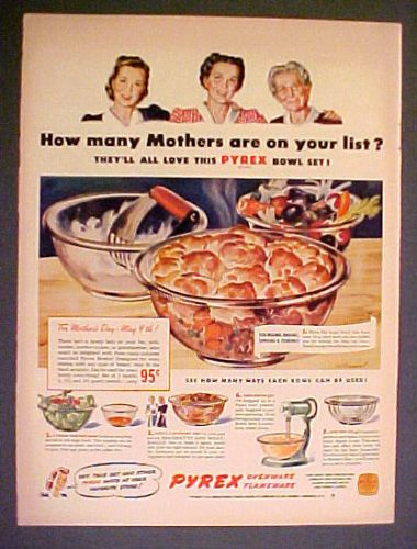 1943 Pyrex Cook Ware Bowls Corning Glass Bakeware Ovenware Cooking Kitchen Ad