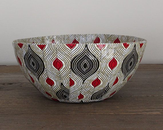 A stunning decoupage bowl in white, black and red.  *Design is Red Eyes.  *Each…