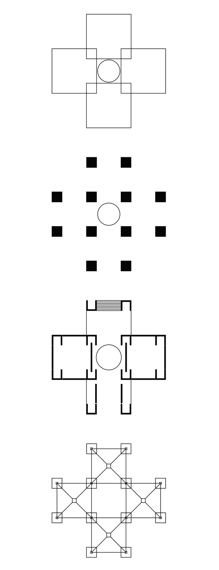 Louis Kahn + Anne Tyng | The Bath House design is a pavilion in the shape of a Greek cross composed of four squares