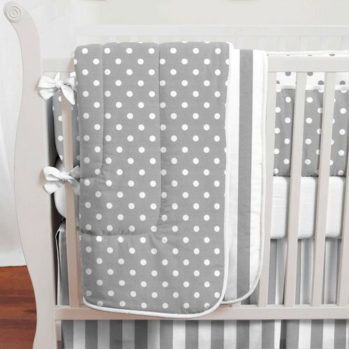 Gray and White Dots and Stripes Crib Comforter | Carousel Designs - -DIY chevron on one side and polka dots on the other