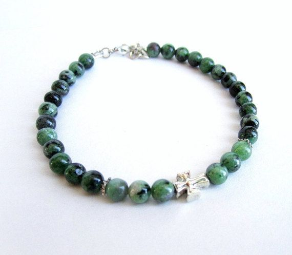 Mens cross bracelet zoisite black onyx stone by Bravemenjewelry