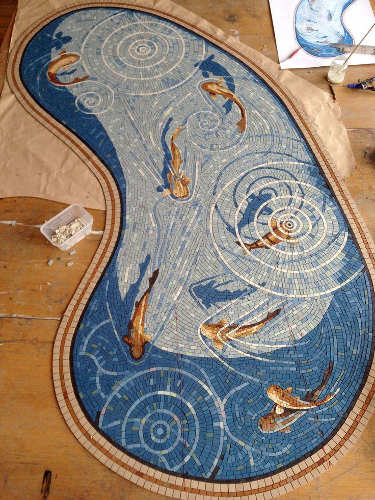 Fishpond mosaic by Gary Drostle for Colorado Springs residence.
