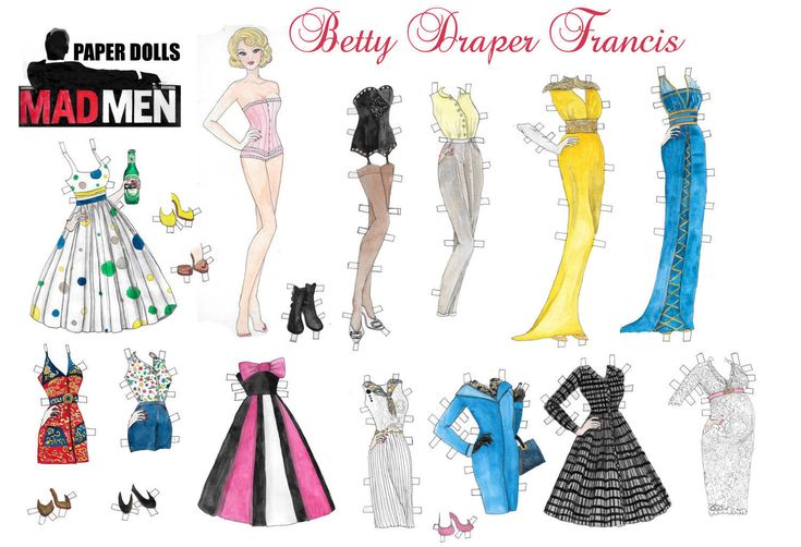 Mad men's watercolor hand drawn Betty Draper printable paper doll by RobertaTomei on Etsy