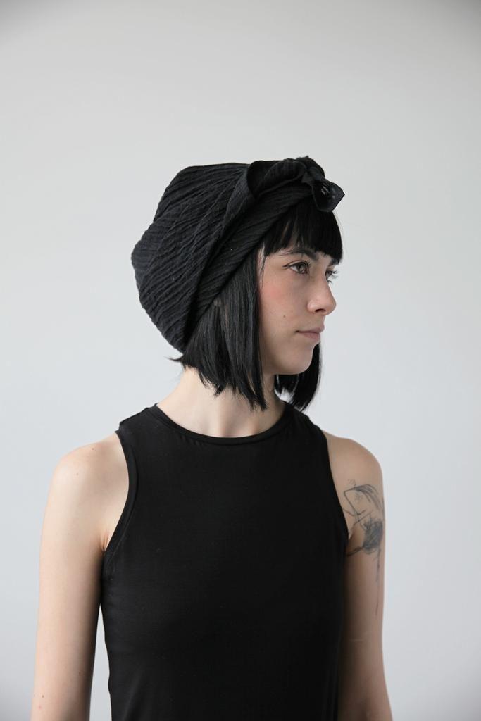 Black Linen Headscarf Ovate   cendre