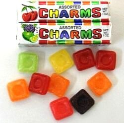 Ours weren't called charms, they were Sparkles.  They only came off the market a few years ago..much to the sadness of NZ.  A petition was circulated to Save the Sparkle but the candy company took them off anyway..