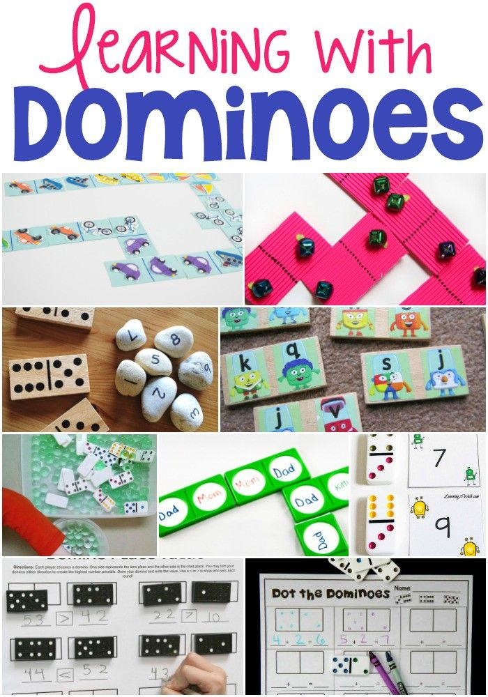 So many fun ways to learn with dominoes! DIY dominoes and traditional dominoes make for some great learning opportunities. Matching, alphabet, place value, learning to read, counting and more!