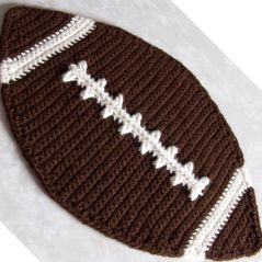 Here is a free crochet pattern for a football placemat. I used Red Heart Comfort Yarn, but you can use any other yarn that matches the gauge.