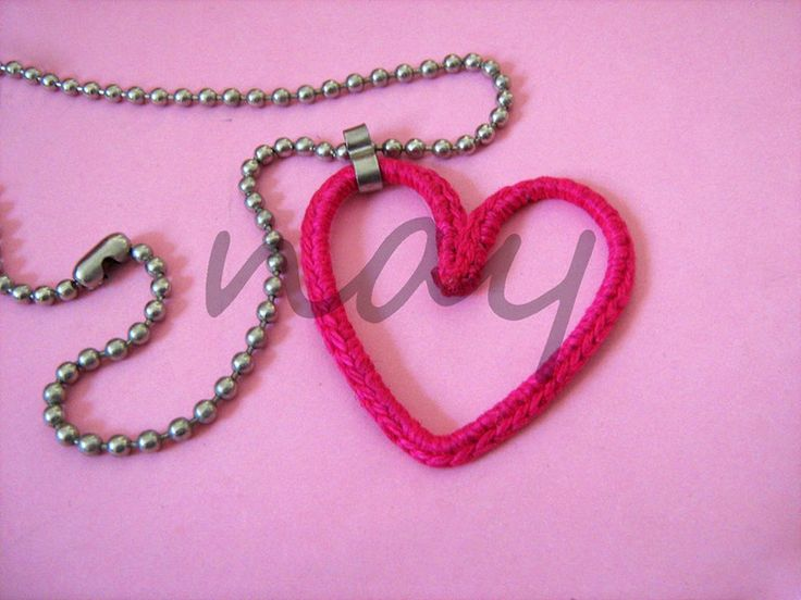 Handmade crochet on wire metal heart necklace NK16 from nay handmade - unique handcrafted accessories by DaWanda.com