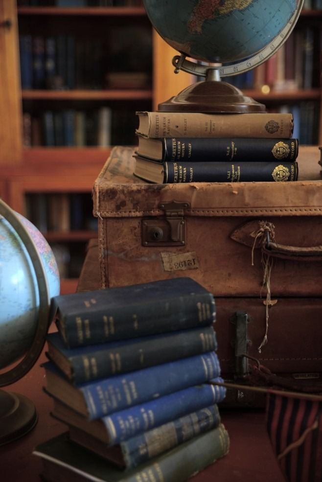 books, globe, vintage luggage bags for the library room.