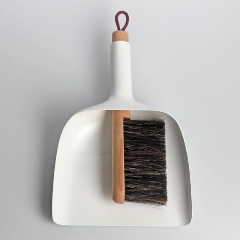 Sweeper and dustpan.