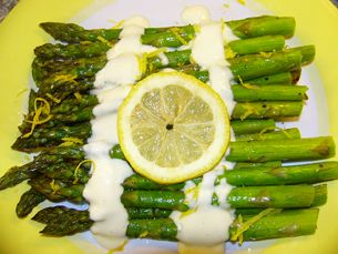 Roasted Asparagus with Garlic Sauce > Start Cooking