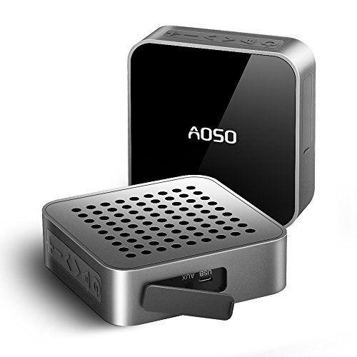 [2016 Meilleure Vente] AOSO MetalBox Enceinte Portable Bluetooth Sans fil Stéréo Etanche Douche Extérieur Résistant aux éclaboussures 10…