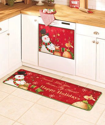 """Dress up the heart of your home with the happy holiday message of this adorable collection of kitchen decorations. The 52"""" Rug (18"""" wide) adds the message, """"Friends Like You Warm My Heart!"""" Grippers on the bottom keep the rug from sliding. Face, poly"""