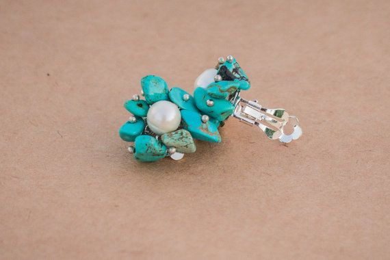 Clips handmade with pearls and turquoise