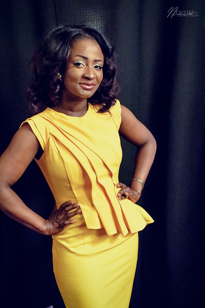 Vibrant Yellow Draped Pleated Peplum Pencil by AkeseStyleLines