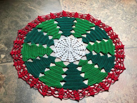 Christmas Tree Doily Holiday Edition Handmade Crochet Home Decor Crochet Home Crochet Bedspread Pattern Christmas Crochet