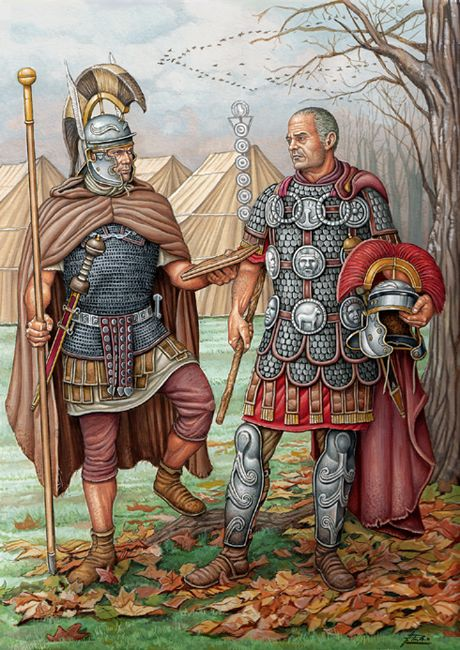 Centurion and Optio stand together early in the morning while the soldiers get up. Art by Angel Garcia Pinto.