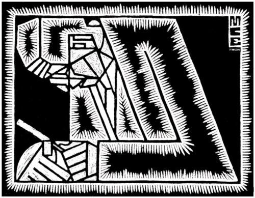 Father with Magnifying Glass - M.C. Escher