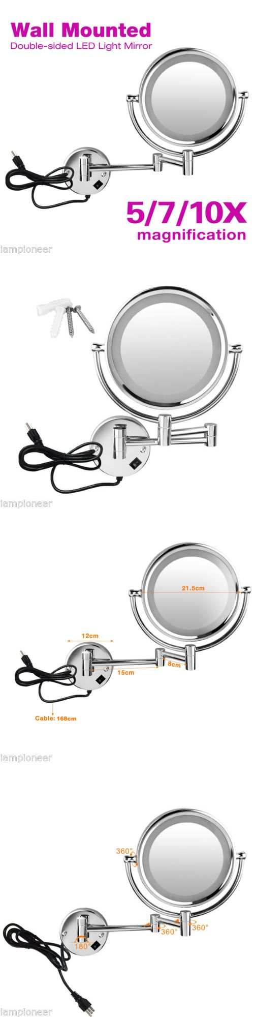 Mirrors 133693: 8.5 Inch Led Lighted Make Up Bathroom Wall Mounted Extending Double Sided Mirror -> BUY IT NOW ONLY: $59.99 on eBay!