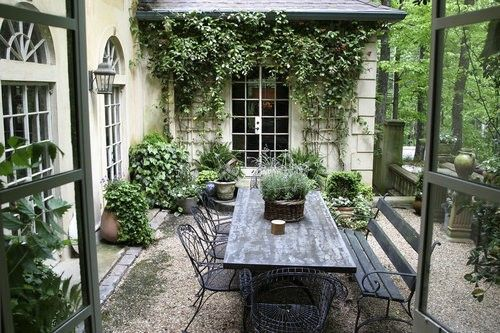 Rustic French would great under an arbour or in conservatory where all the doors can open in the day