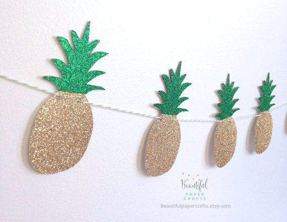Gold & Green Glitter Pineapple Garland  by BeautifulPaperCrafts