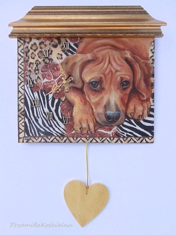 Rhodesian Ridgeback PAINTED CLOCK DOG portrait by CanisArtStudio #paintedclock #wallclock #dog #rhodesianridgeback #safari #canisartstudio