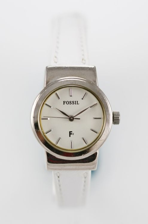 Fossil F2 Watch Women Stainless Silver Water Resistant White Leather Pink Quartz