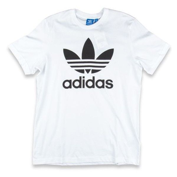 Adidas Original Trefoil T-Shirt White ❤ liked on Polyvore featuring tops, t-shirts, white tee, white top, adidas originals tee, trefoil tee and white t shirt