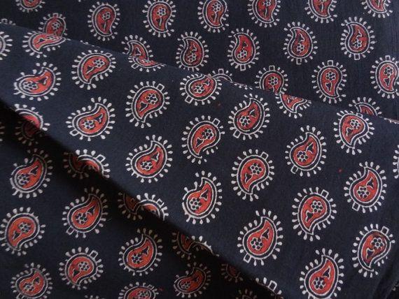 Paisley print Ajrakh Block print fabric cotton by indianstores