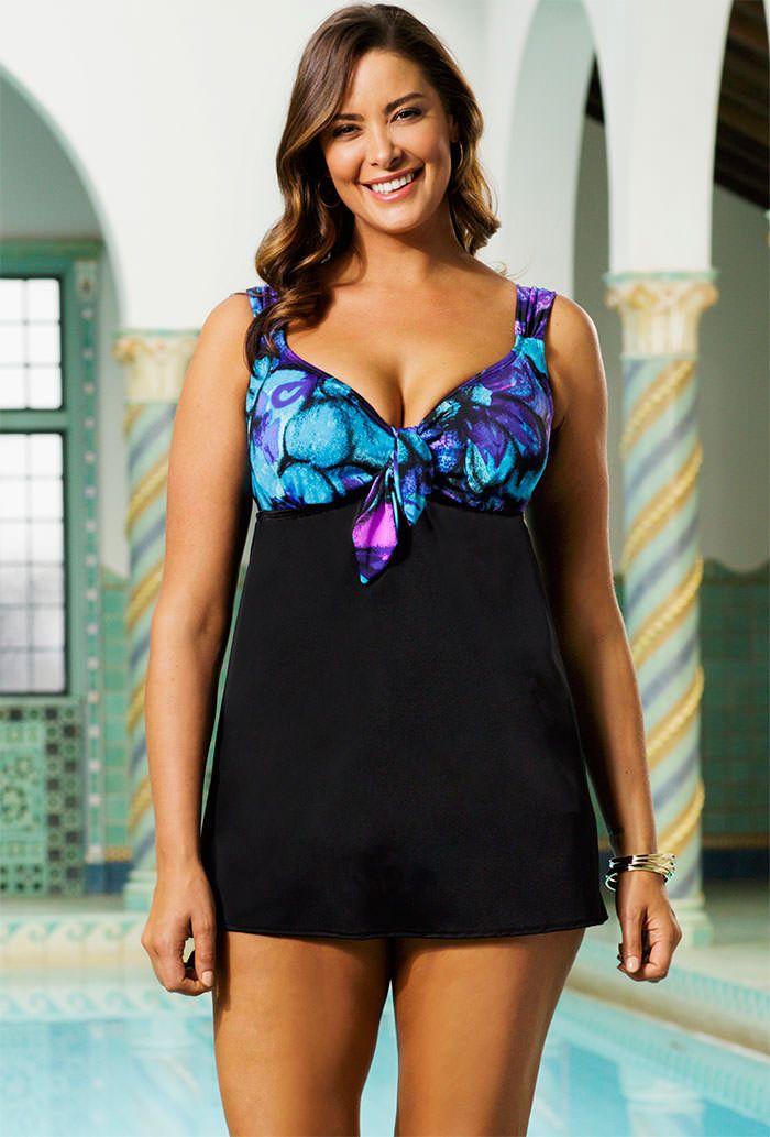 Longitude Gypsie Plus Size Tie Front Swimdress Clothes