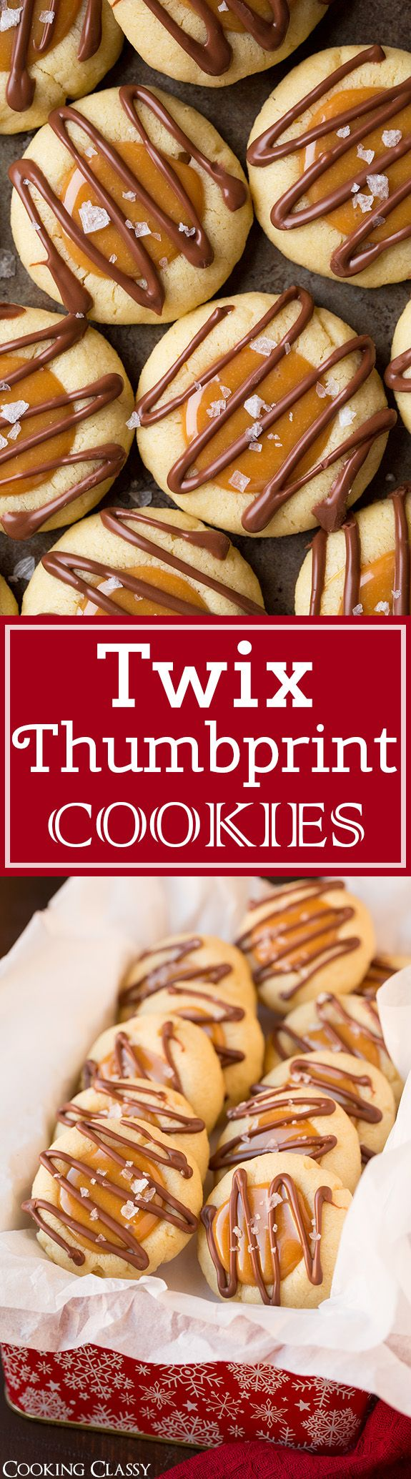 Twix Thumbprint Cookies - these are TO DIE FOR! Easy to make too! Sea salt is optional but I say it's a must! Makes them so much better!
