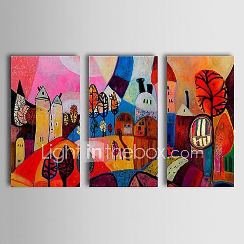 Pintados à mão Abstrato Paisagem Paisagens Abstratas Horizontal,Clássico Tradicional 3 Painéis Pintura a Óleo For Decoração para casa de 2017 por €96.99