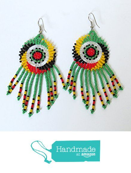 African Zulu beaded earrings - Dreamcatchers (small) - Rasta colours from Gone Rural - Safari Curios https://www.amazon.com/dp/B01H7CHL6Y/ref=hnd_sw_r_pi_dp_aL9Fxb39DAKMR #handmadeatamazon